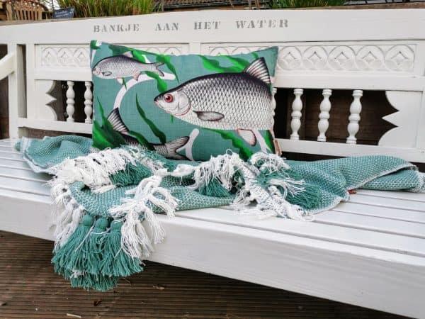 kussen vissen groen